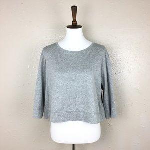 Lafayette 148 Large Crop Zipper Shirt Gray Cotton